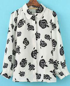 White Lapel Long Sleeve Rose Print Blouse - Sheinside.com