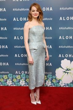Emma Stone stepped out in an Ulyana Sergeenko dress and Christian Louboutin shoes at a screening of the film Aloha at the London Soho Hotel | Harper's Bazaar