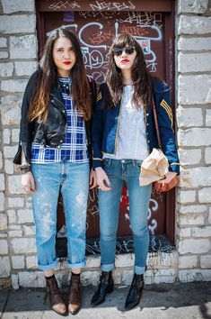 SXSW Street Style Teaches A Lesson In Festival Style #refinery29  http://www.refinery29.com/sxsw-fashion#slide-4  Dylana and Natalie Suarez (of Natalie Off Duty) do double-duty in denim. Perfect. Festival. Gear. ...