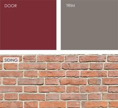 A fresh take on the classic red front door is to go warmer with a red-orange hue or cooler with a red that has a bit of blue in it. This rich, cooler cranberry color would look great against the red-orange brick. The neutral taupe would be a nice accent color on the wood porch railing. Door: Cranberry Cocktail 2083-20; trim: Taos Taupe 2111-40 (both from Benjamin Moore). by Jennifer Ott