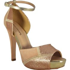 Powder and gold Platform Sandal by Bruno Menegatti available now @Vault XV
