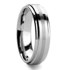 Tailor Made 6mm Center Brushed Stripe Tungsten Ring Step Edge Wedding Band Size 4-18 (#NR08D)