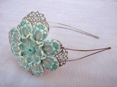 Headband - head band, flower, polymer clay, woman girl present gift wedding on Etsy, $16.99