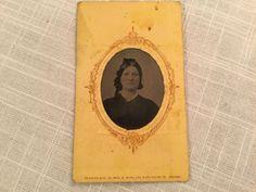 Antique CDV Photograph Woman Wearing Black Dress Bow In Hair