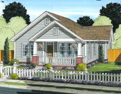 This 2 bedroom house plan makes a great starter home or a downsize option.The bedrooms share a bath and a powder room is tucked off the living room.Related Plan: Get an attached 2 car garage with house plan Cottage Style House Plans, Cottage House Plans, Country House Plans, Cottage Homes, Cottage Farmhouse, Country Houses, Cottage Ideas, Cottage Living, 2 Bedroom House Plans