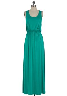 Summer Night Stroll Dress in Green - Long, Green, Solid, Maxi, Tank top (2 thick straps)