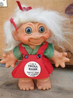 """Vintage 1964 Thomas Dam 7"""" Troll Girl BANK ~   All Original!  Made in Denmark!  ~ The variety of Cool Collectibles is always changing at Tons of Treasures in Laguna Niguel!   27601 Forbes Rd ~ 949-310-6993!"""