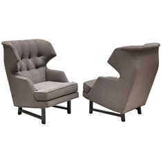 Edward Wormley (1907-1995) for Dunbar - Pair of Upholstered Chairs | From a unique collection of antique and modern lounge chairs at http://www.1stdibs.com/furniture/seating/lounge-chairs/