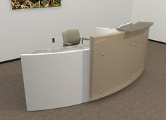 round reception desk | white zebrano wood desk with glass transaction counter top