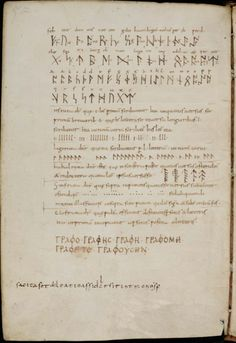 """Alcuin Manuscript, 9th Century.""""In Codex Sangallensis 270 are to be found several varieties of Runic cypher - Isruna, Lagoruna, Ilahalruna, Stofruna - the solution of which demands a knowledge of the exact position of each letter in the alphabet…."""""""