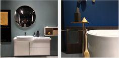Interior Design: Badgestaltung – Die letzte weiße Oase bekommt Farbe und Erdung Bathroom Lighting, Vanity, Mirror, Furniture, Design, Home Decor, Colors, Bathroom Light Fittings, Dressing Tables