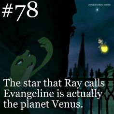 Disney Fun Fact The star that Ray calls Evangeline is actually planet Venus. The Princess and the Frog Disney Fun Fact The star that Ray calls Evangeline is actually planet Venus. The Princess and the Frog Disney Fun Facts, Disney Memes, Disney Quotes, Funny Disney, Disneyland Secrets, Disney Secrets, Captain Jack Sparrow, Disney Love, Disney Magic