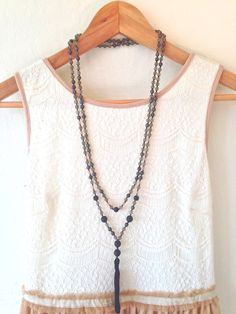 Beaded Tassel Necklace Czech Glass Ceramic and by DinosaurFood