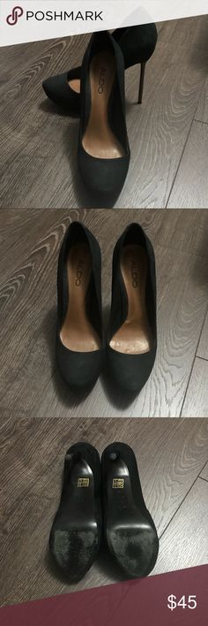 "Aldo black suede sexy pumps with metal heels A pair of sexy pumps featured with skinny pewter metal heels.  Only worn once.  5"" heels with 1"" hidden platforms  Made in Brazil with genuine leather inside out.  Please note: these have shallow shoebox so they are a good fit for size 35.5 (5.5) Aldo Shoes Platforms"