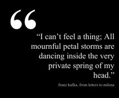 Franz Kafka, from letters to Milena.