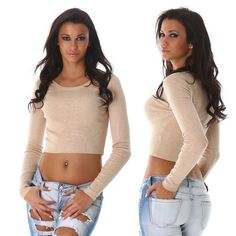 Damen-Top-Pullover-im-Feinstrick-Pulli-kurz-bauchfrei-Farbe-Langarm-Groesse
