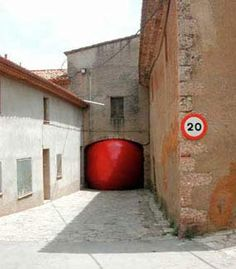 The Red Ball Project Installation in El Bruc. Oldest building in the city itself.
