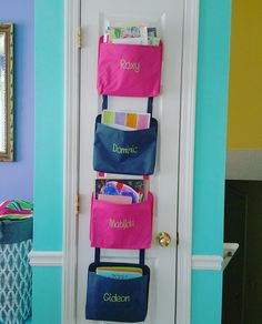 My organized pantry door! Used four Oh Snap Pockets from Thirty-One. So exciting to have our kids permission slips, homework, & mail all in ONE area! I don't have to search anymore!!