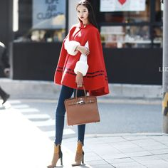 color combination cape Coat taping  red coat dint 딘트