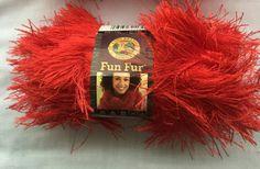 RED FunFur by Lion Brand Yarn   RED Eyelash by dcoyshouseofyarn