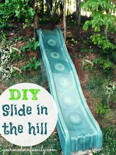 diy make a slide in the hill side or yard easy fun for the kids, diy, outdoor living, repurposing upcycling, woodworking projects Backyard Playground, Backyard For Kids, Diy For Kids, Backyard Ideas, Kids Yard, Playground Ideas, Backyard Slide, Backyard Toys, Natural Playground
