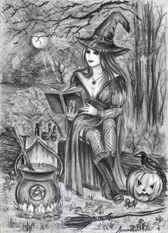 adult coloring pages Halloween - Witch Coloring Pages, Free Adult Coloring Pages, Halloween Coloring Pages, Coloring Pages To Print, Coloring Books, Desenhos Halloween, Witch Art, Wow Art, Halloween Make