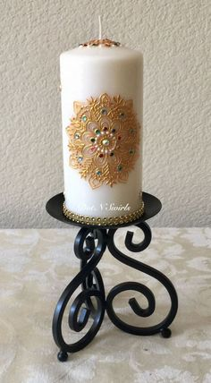 Unscented wax pillar decorated with henna mandala/jewel tone/henna candle/indian wedding/unique/gift for mom/eid decor/wedding centerpieces Henna Candles, Diy Candles, Pillar Candles, Ramadan Decorations, Indian Wedding Decorations, Decor Wedding, Candle Centerpieces, Wedding Centerpieces, Creation Bougie