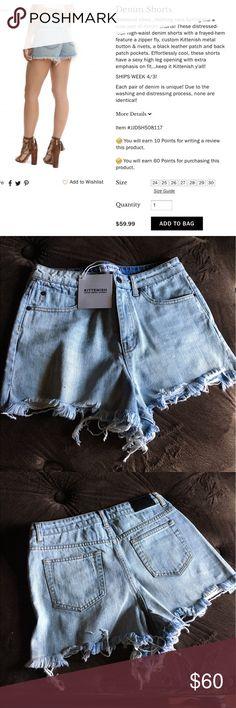 Kittenish Jessie James Decker denim shorts Jessie James Decker Kittenish denim high waist shorts - size 27 - only tried on  - amazing quality !! Kittenish Shorts