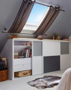 Window curtains for attic rooms - 20 modern ideas - Dachzimmer - Attic Renovation, Attic Remodel, Attic Window, Window Curtains, Brown Curtains, Kitchen Curtains, Attic Bedrooms, Bedroom Boys, Loft Room