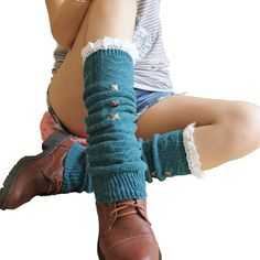 V28 Women Knee High Crochet Lace Cable Knitted Leg Warmers with Studs (One Size, Blue). Crochet lace yarn these solid body knit stockings. They go with your lovely boots,. Wear them with tights, leggings, skirts, skinny jeans for a sweet cozy look.