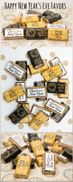 Simply peel, wrap and stick these New Years Eve Stickers around Hershey's Miniature Candy Bars to create a simple and easy New Year's Eve party favor! #newyearsparty #nyepartyfavor