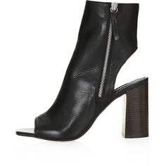 TopShop Home Peep-Toe Boots ($110) ❤ liked on Polyvore featuring shoes, boots, black, topshop, leather shoes, real leather boots, peep-toe boots, black boots and black shoes