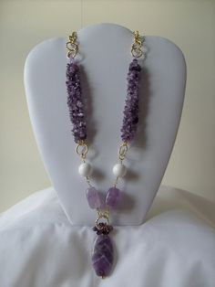 Purple necklaces.