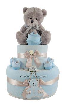 Two Tier baby boy teddy bear nappy cake gift idea www.CoochyCooNappyCakes.co.uk