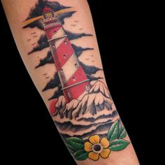 lighthouse traditional tattoo Tattoo by Paulo da Butcher