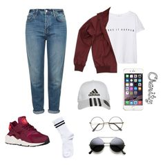 """Casual school day"" by cccharity on Polyvore featuring mode, Topshop, MANGO, Fred Perry, Pieces, adidas, women's clothing, women, female en woman"