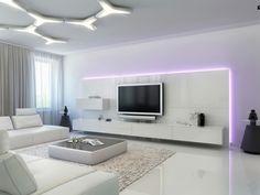 meuble suspendu de salon, ensemble de tv suspendu, tapis beige moelleux, intérieur blanc Plus
