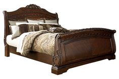 Shop Ashley Furniture North Shore Dark Brown King Sleigh Bed with great price, The Classy Home Furniture has the best selection of Beds to choose from Furniture Near Me, Bedroom Furniture, Home Furniture, Wooden Furniture, Antique Furniture, Wood Bedroom, French Furniture, Furniture Storage, Furniture Ideas