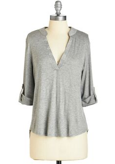 Fundamentals of Style Top in Grey. Get down to the fashionable basics with this chic and versatile heather-grey top. #grey #modcloth