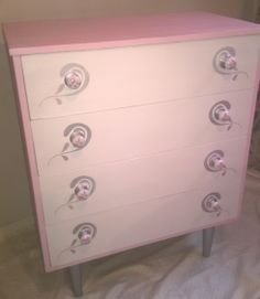 """""""little princess"""" bedroom vintage furniture hand painted chest of drawers, pink and white with silvery stencil work. by www.facebook.com/every1unique"""
