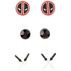 Marvel Deadpool Earrings 3 Pair ($6.37) ❤ liked on Polyvore featuring jewelry, earrings, multi, marvel jewelry, logo earrings, gemstone jewelry, gemstone earrings and gem jewelry