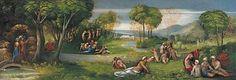 Enea e la Sibilla nei Campi Elisi 1520-21. Si trovava come fregio nel Camerino delle pitture di Alfonso I. Ottawa. National Gallery of Canada
