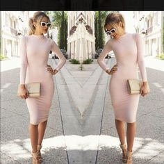 Bodycon Dress Soft pink bodycon dress! Great for a casual or dressy occasion Dresses