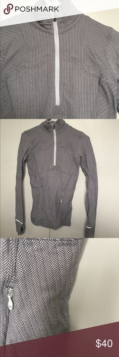 Lulu lemon gray and white tweed half zip up. Gray and white tweed. One side pocket. Thumb holes. Cotton like feel and cold weather weight lululemon athletica Jackets & Coats Utility Jackets