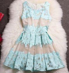 Blue green lace- like