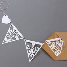 Papercut Save The Date Wedding Bunting