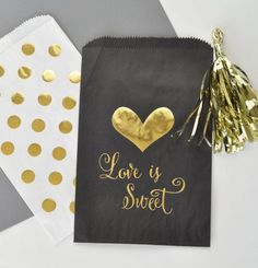 Love is Sweet Wedding Favor Bags | Wedding Candy Buffet Bags | Black and Gold Bags by Weddingfavorites
