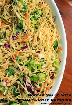March, Cucumber, Peppers, Onion Jo and Sue: Noodle Salad With Sesame Garlic Dressing Pasta Salad Recipes, Healthy Salad Recipes, Vegetarian Recipes, Noodle Recipes, Potluck Recipes, Dinner Recipes, Cooking Recipes, Potluck Lunch Ideas, Office Potluck