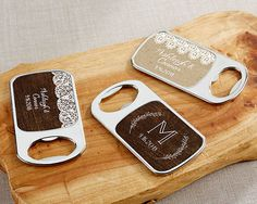 Personalized Silver Bottle Opener Rustic Wedding Favors