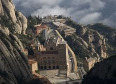 Montserrat (Serrated Mountain) 31mi NW of Barcelona, comprising a massif of limestone pinnacles rising over gorges was founded in 1025 to commemorate numerous visions of the Virgin Mary. Today it houses a about 80 monks, and pilgrims come to venerate La Moreneta (the Black Virgin), a 12th-century Romanesque wooden sculpture of Mary with the baby Jesus. The most dramatic approach to Montserrat is by cable car, which arrives just below the monastery after a thrilling ride up the sheer…